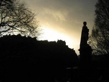 Edinburgh Castle, seen at sunset on the last day of the year.