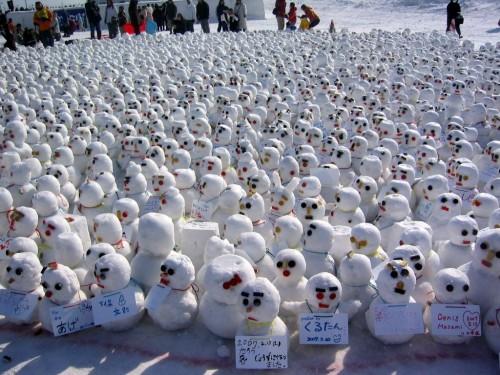 Tiny angry snowmen. Japan.