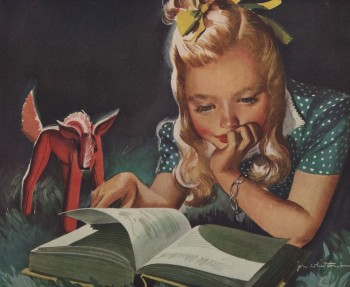 Reading, glorious reading. Illustration by Jon Whitcomb