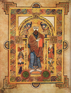 An illuminated drawing of St. Patrick