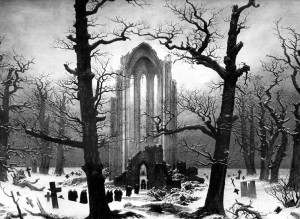 Cloister Cemetery in the Snow, by Caspar David Friedrich